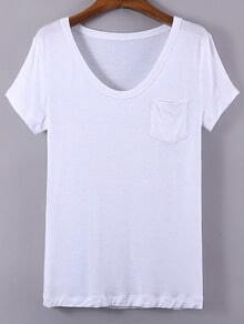 White V Neck Pocket Short Sleeve Casual T-shirt