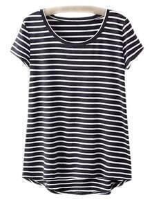 Black Dip Hem Short Sleeve Stripe T-shirt