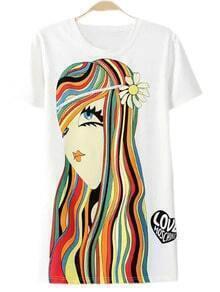 White Short Sleeve Girl Print Casual T-shirt