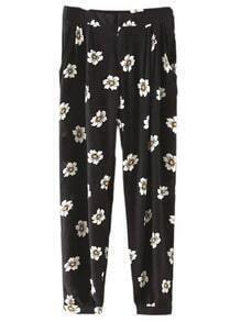 Black Pockets Flowers Print Pants