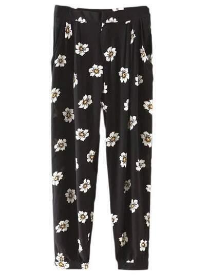 Black Pockets Flowers Print Pants