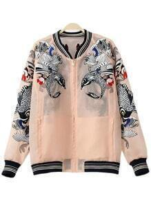 Pink Pockets Fish Embroidery Organza Jacket