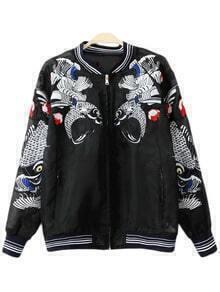 Black Pockets Fish Embroidery Organza Jacket