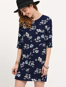 Multicolor Half Sleeve Flower Print Dress