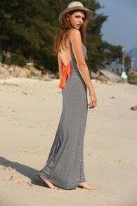 Black White Striped Backless Bow Maxi Dress