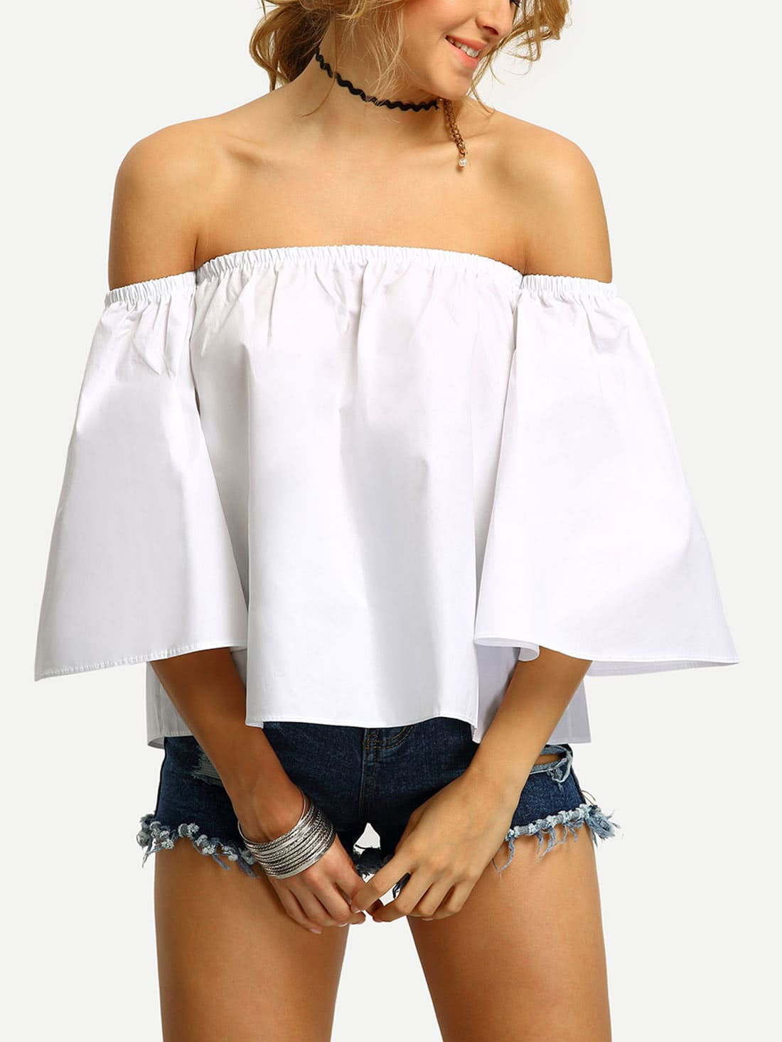 Off-The-Shoulder Bell Sleeve Swing Blouse RBLO160414006