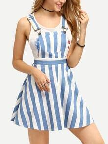 Vertical Striped Pinafore Dress