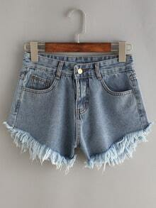 Frayed Light Blue Denim Shorts