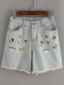 Dessert Embroidered Frayed Denim Shorts