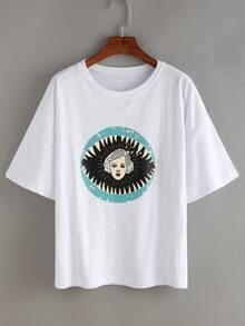 Cartoon Portrait Print T-shirt