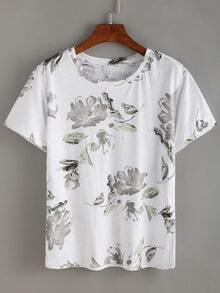 Flower Ink Painting T-shirt