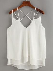 Crisscross Layered Chiffon Cami Dress - White