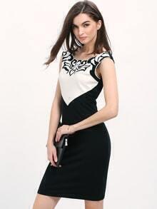 Black White Embroidered Sheath Dress