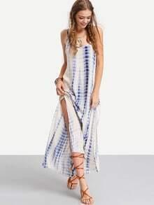 Multicolor Ikat Print Split Side Dress