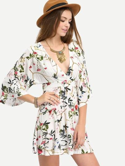 Multicolor Half Sleeve Print Hollow Back Dress