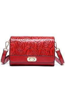 Rose Embossed Turnlock Flap Bag - Red