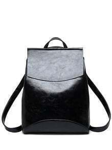 Faux Leather Flap Top Structured Backpack