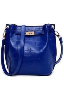 Crocodile Embossed Turnlock Belted Bucket Bag - Blue