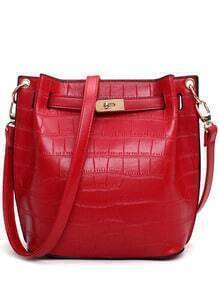 Crocodile Embossed Turnlock Belted Bucket Bag - Red