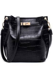 Crocodile Embossed Turnlock Belted Bucket Bag - Black
