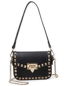 Plain Studded Double Carry Flap Bag