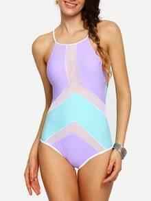 Color Block Mesh Insert Crisscross One-Piece Swimwear