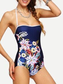 Flower Print Ladder-Cutout One-Piece Swimwear
