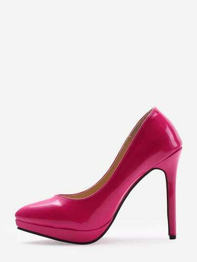 Rose Red Faux Patent Leather Pumps
