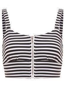 Striped Zip Front Crop Cami Top