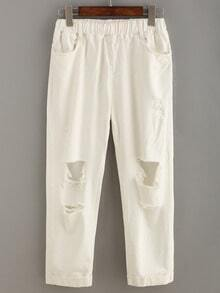 Distressed Elastic Waist White Ankle Jeans