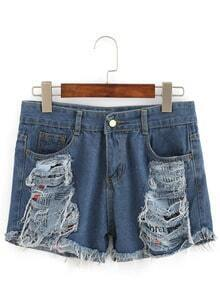 Frayed Printed Patch Denim Shorts