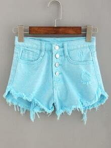 Frayed Buttoned Fly Denim Shorts - Baby Blue