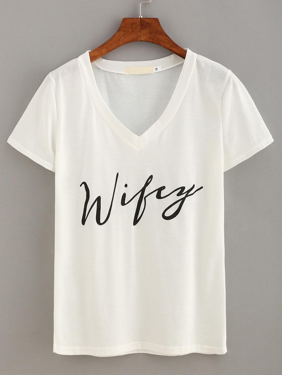 Фото V-Neck Letter Print T-shirt. Купить с доставкой