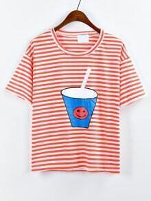 Drink Cup Print Striped T-shirt - Orange