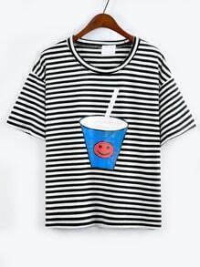 Drink Cup Print Striped T-shirt - Black