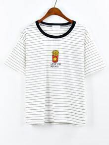 Contrast Neck French Fries Embroidered Striped T-shirt - Black