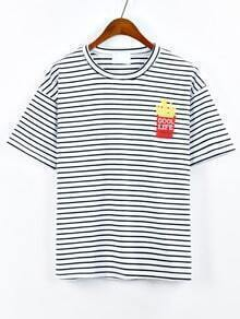French Fries Embroidered Striped T-shirt - White