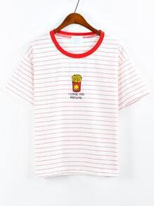 Contrast Neck French Fries Embroidered Striped T-shirt - Red