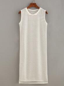 Ribbed Neck Striped Tank Dress - White