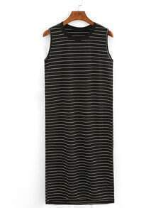 Ribbed Neck Striped Tank Dress - Black