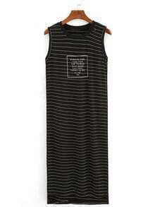 Ribbed Neck Letter Print Striped Tank Dress - Black