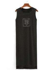 Ribbed Neck Letter Print Striped Tank Dress - Black