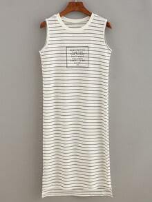 Ribbed Neck Letter Print Striped Tank Dress - White
