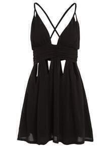 Plunge Neck Cutout Crisscross Cami Dress