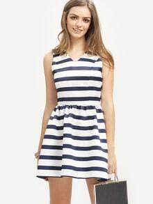 Striped Cutout Back Flare Dress