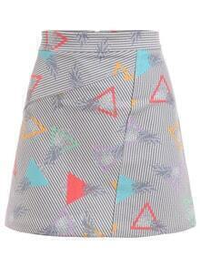Triangle & Pineapple Print Striped A-Line Skirt