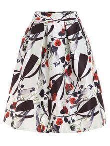 Rose & Bird Print Box Pleated Midi Skirt