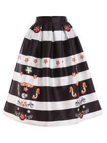 Flower Print Wide Striped Box Pleated Midi Skirt