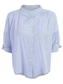 Band Collar Vertical Striped Half Sleeve Blouse - Blue