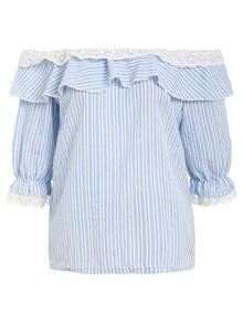 Ruffled Off-The-Shoulder Vertical Striped Top - Blue